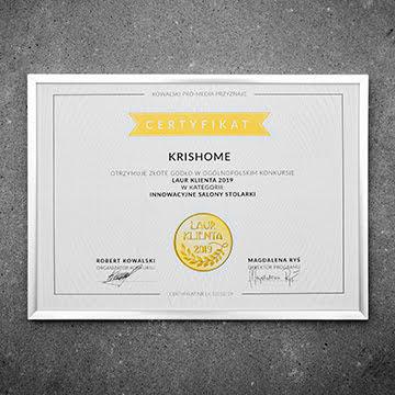 Sieć salonów KRISHOME nagrodzono Laurem Klienta 2019